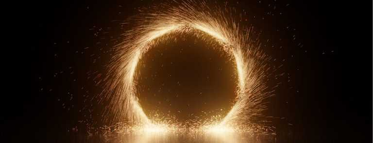 A long exposure of steel wool spinning that resembles a portal