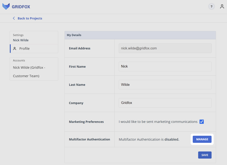 Manage MFA Button