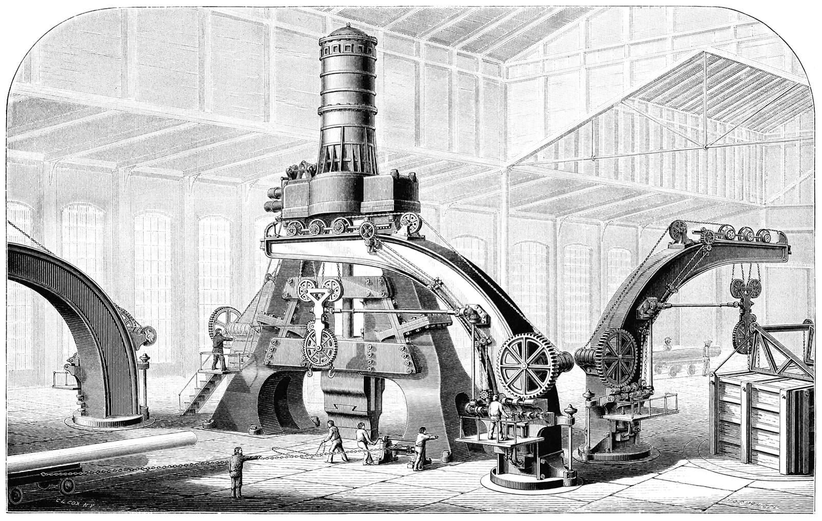 An enormous steam hammer