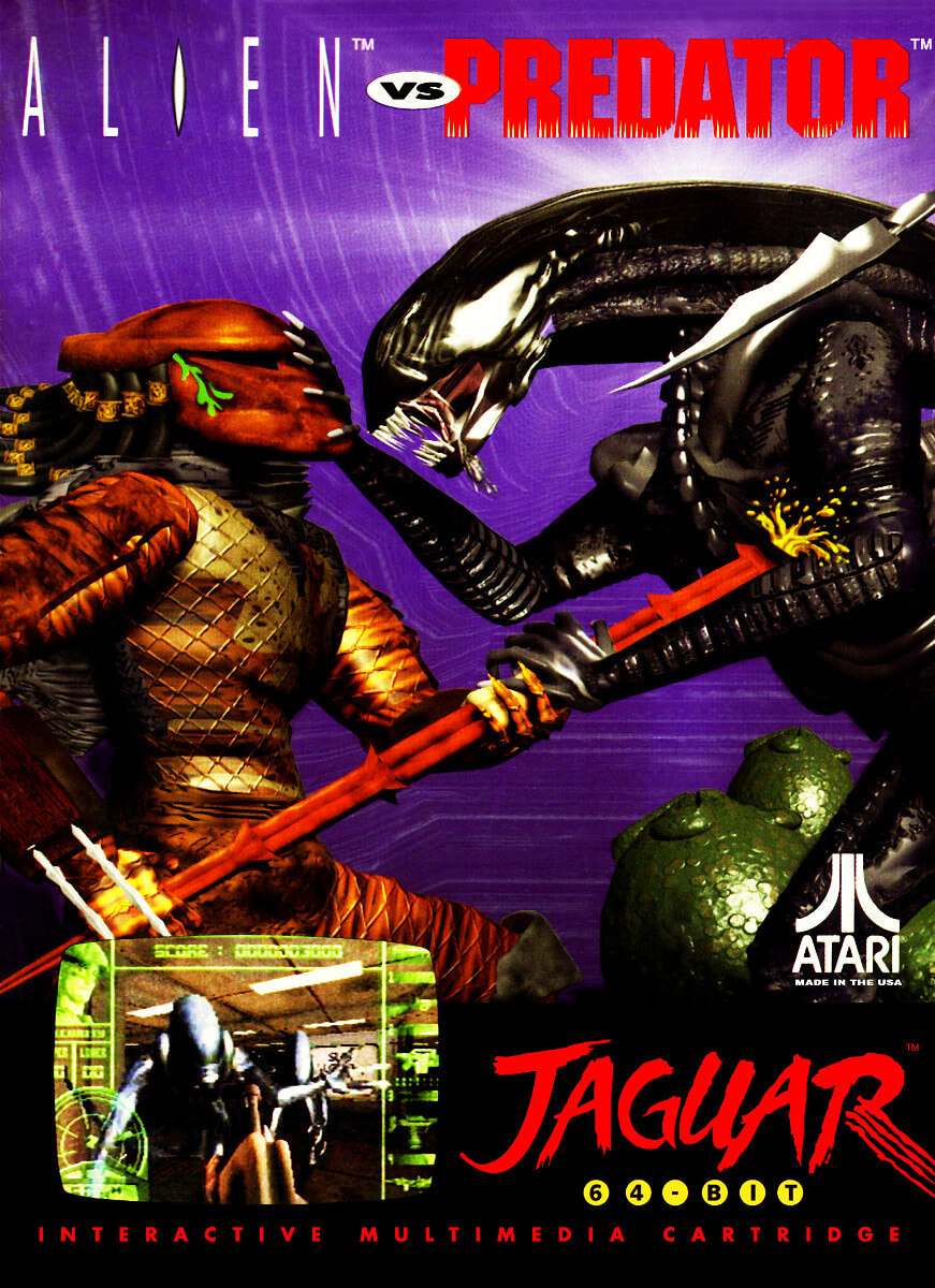 A scan of the box art for Alien va Predator on the Atari Jaguar. A Predator is stabbing a Xenomorph (an alien) in the chest and there are some alien eggs in the background