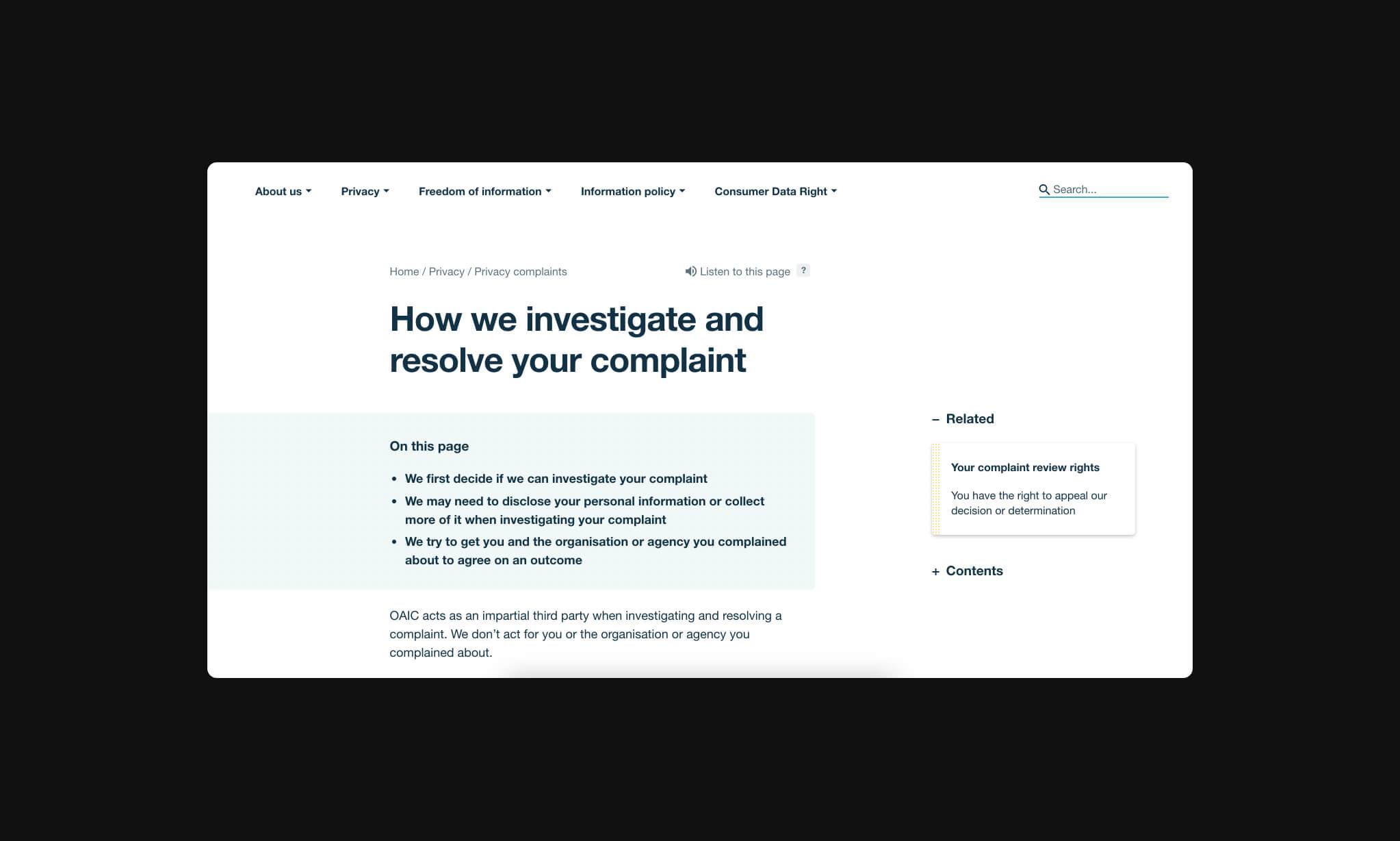 OAIC documentation image