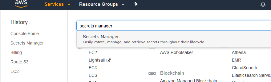 Navigating to AWS Secrets Manager