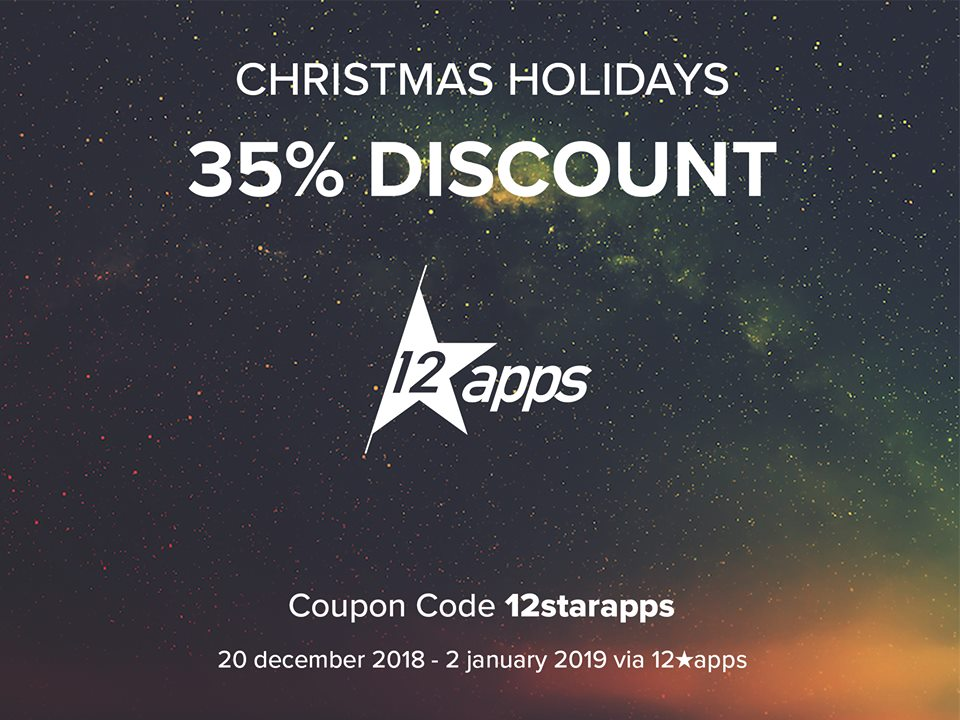 The 12★apps logo on a background of the universe and the coupon code