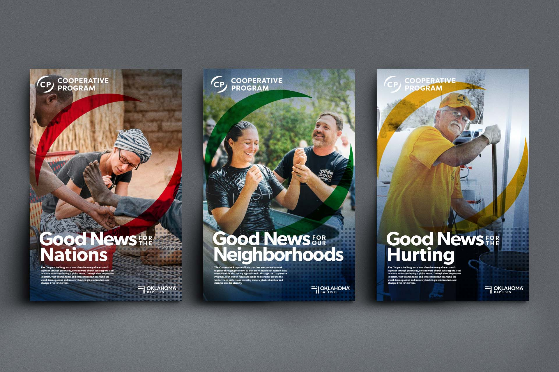 A three-up layout of Cooperative Program posters for this campaign.