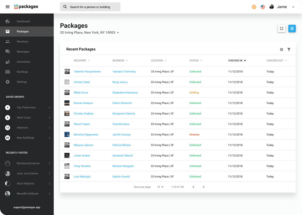 PackageX dashboard