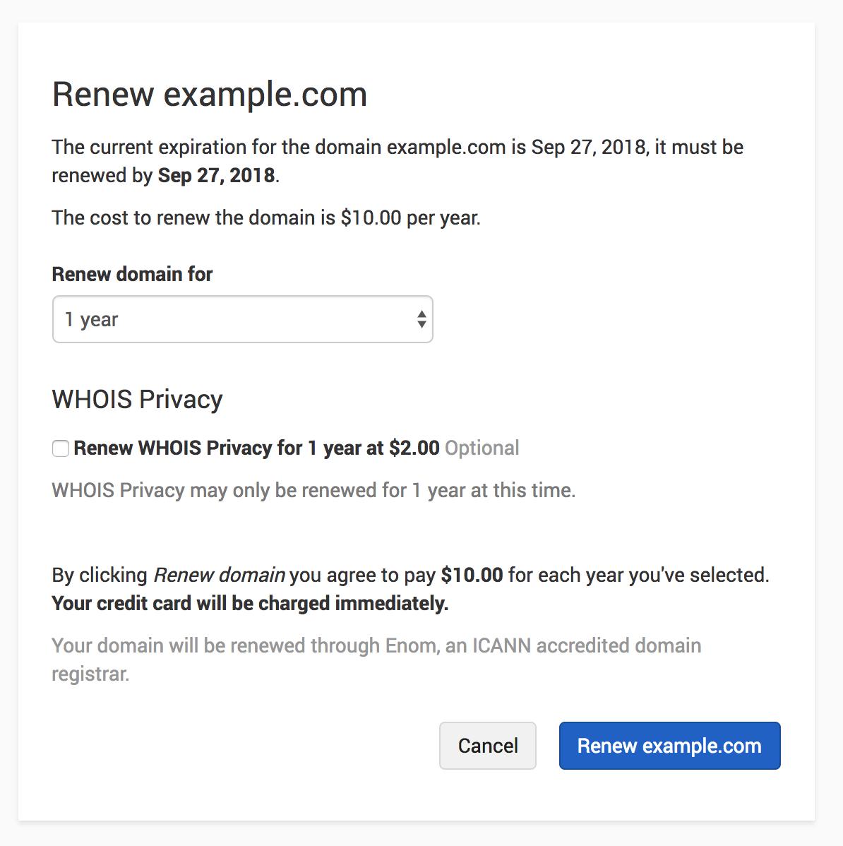 Renew domain form