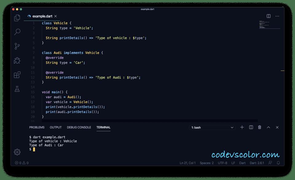 Dart implicit interface example