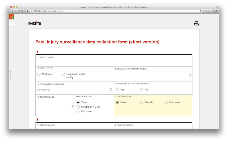 Screenshot of WHO Fatal Injury form using Grid Theme