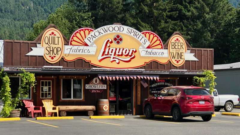 Packwood liquor store and quilt shop