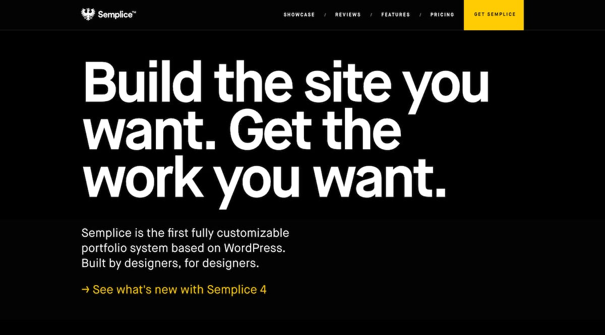Semplice homepage with bold and confident messaging