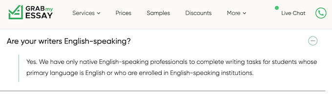 GrabMyEssay.com false claim: We have only native English-speaking professionals to complete writing tasks for students whose primary language is English or who are enrolled in English-speaking institutions.
