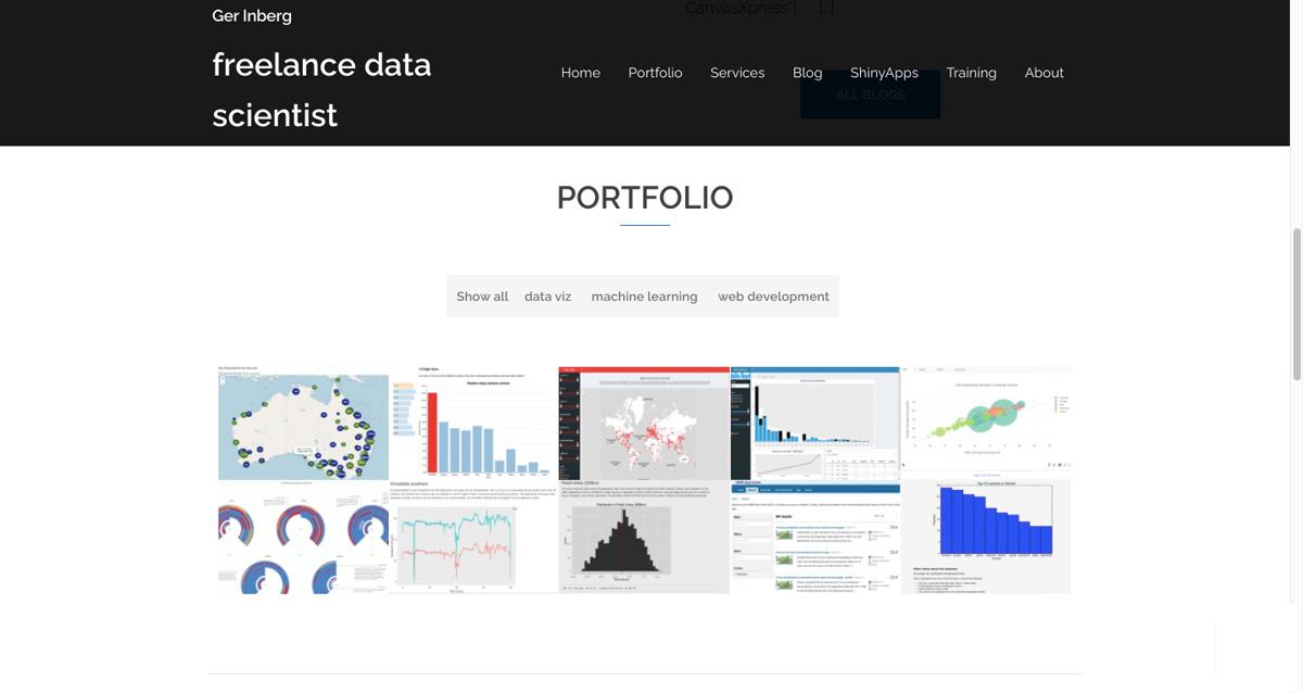 The homepage of Ger Inberg's data analytics portfolio website