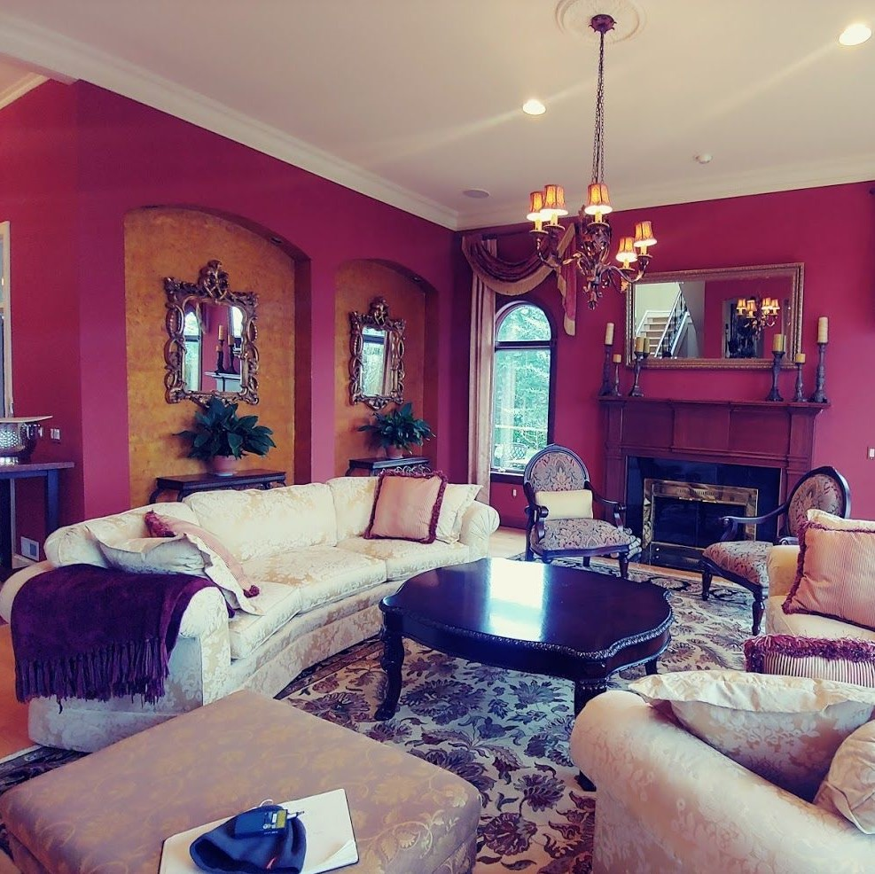 magenta room with couches