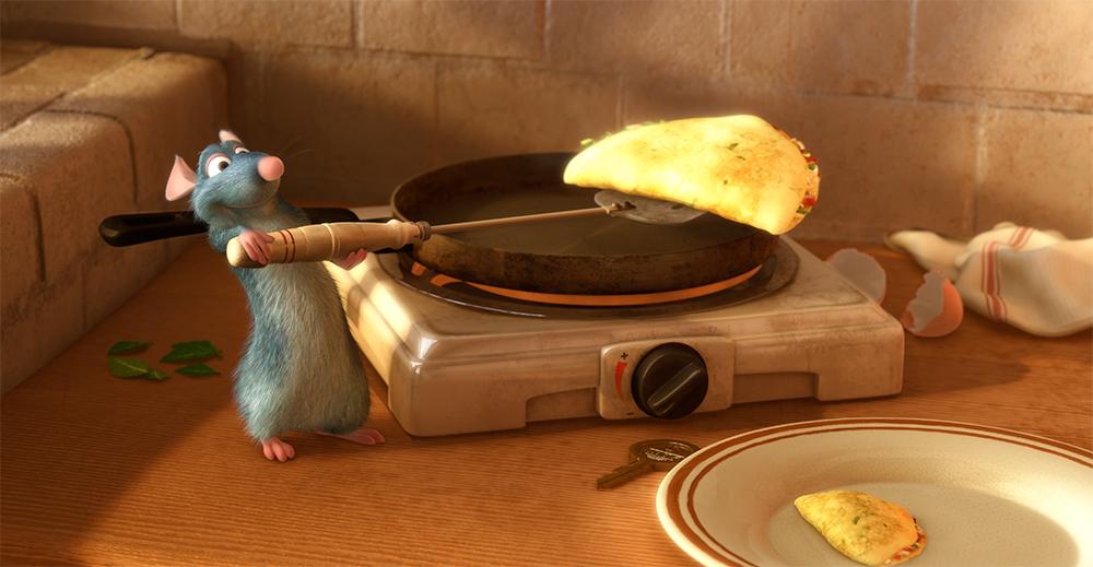 Remy, o rato, prepara um omelete