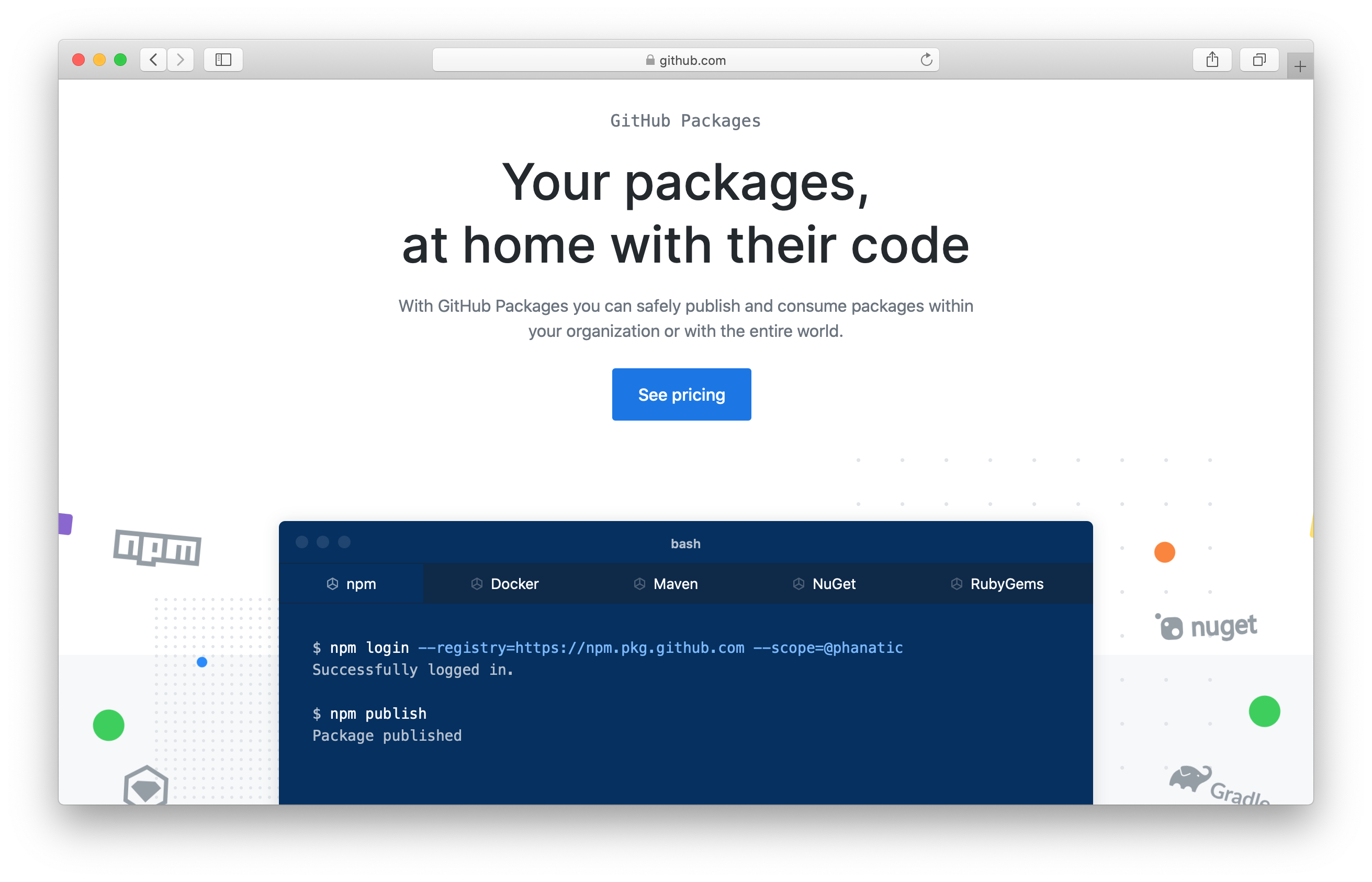 GitHub Packages homepage