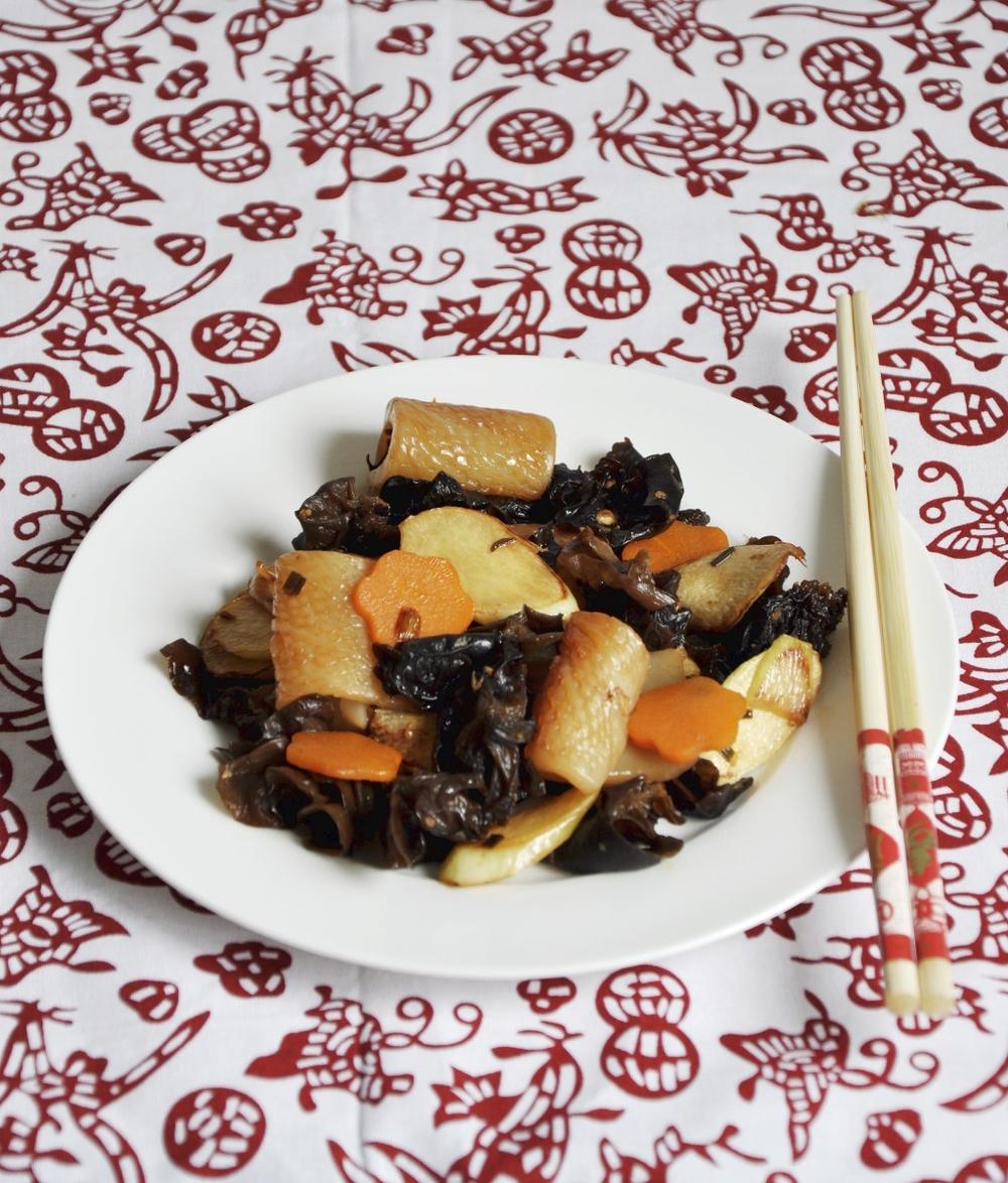 Konjac Mock Squid Stir Fry with Veggies