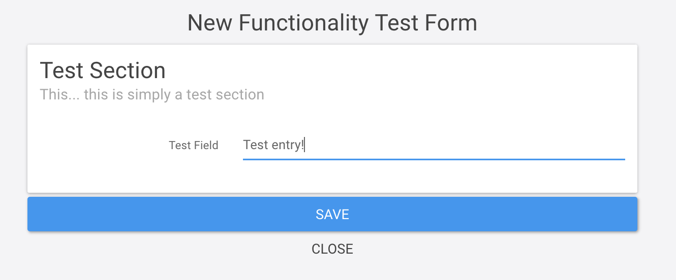 New functionality test form