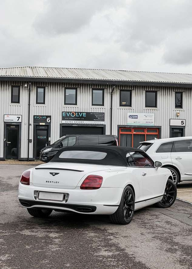 Bentley Continental GT car with untinted windows from back