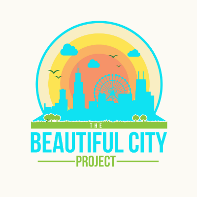 The logo for The Beautiful City Project depicting a Chicago skyline with a 70s-inspired, colorful color pallette