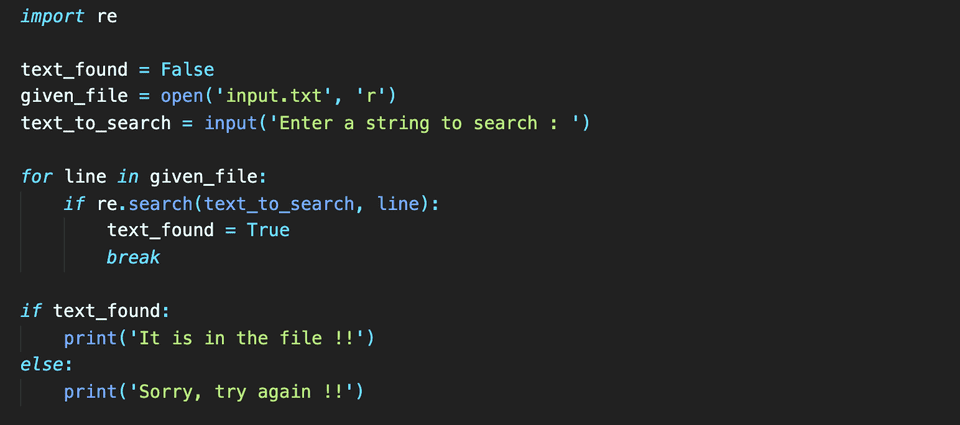 python search text in file