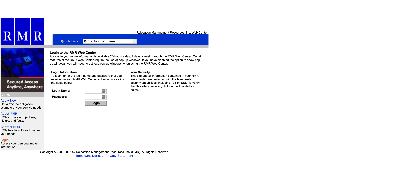 RMR's old client portal login screen