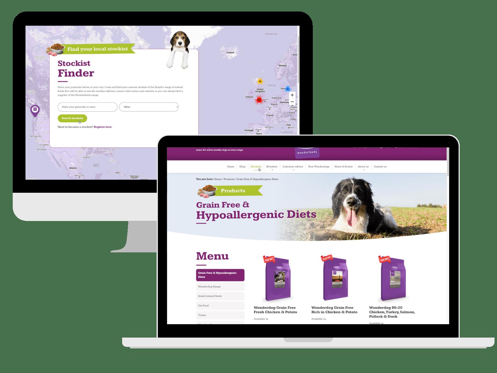 Screenshot of Sneyds Wonderdog website and backend