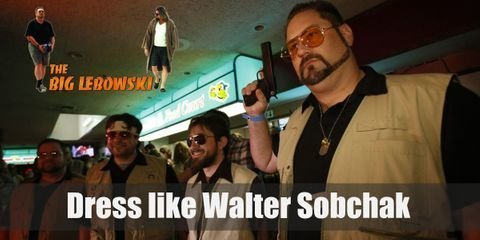Walter Sobchak's style looks like his going on a camping trip (but he's not). He has on a brown polo shirt, olive green cargo shorts, trendy sunglasses with yellow lenses, and a khaki fishing vest.
