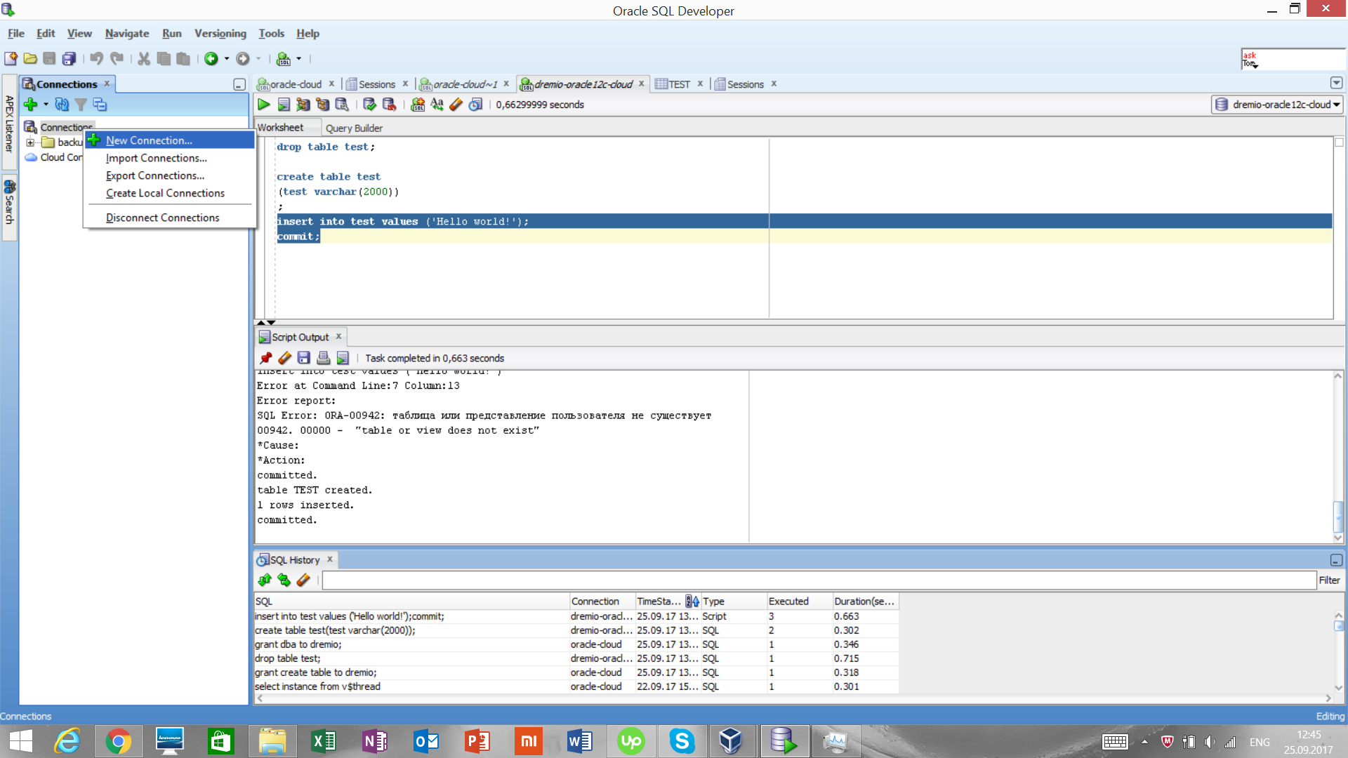 Opening a new connectdion to Oracle with SQL Developer