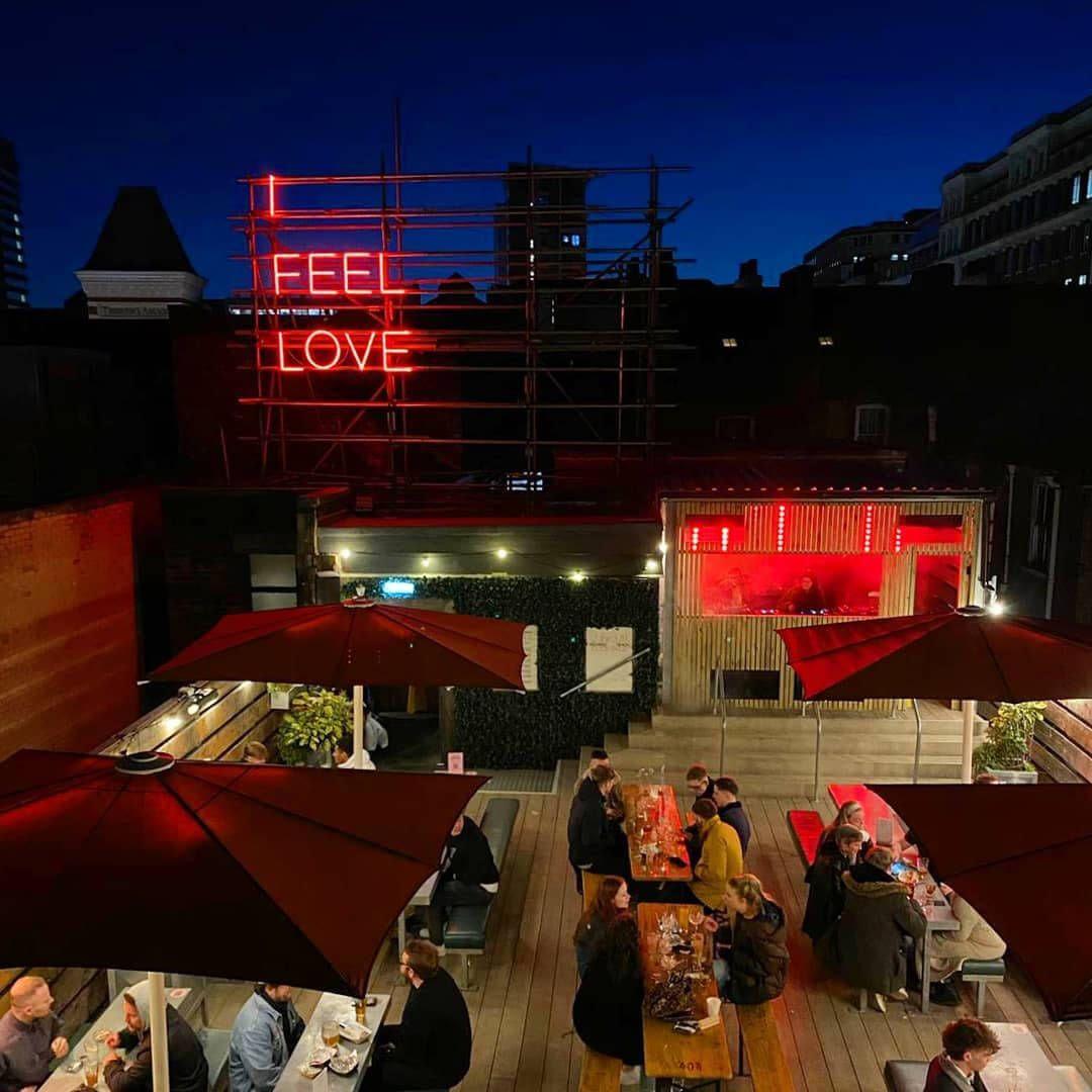 Headrow House rooftop bar at night