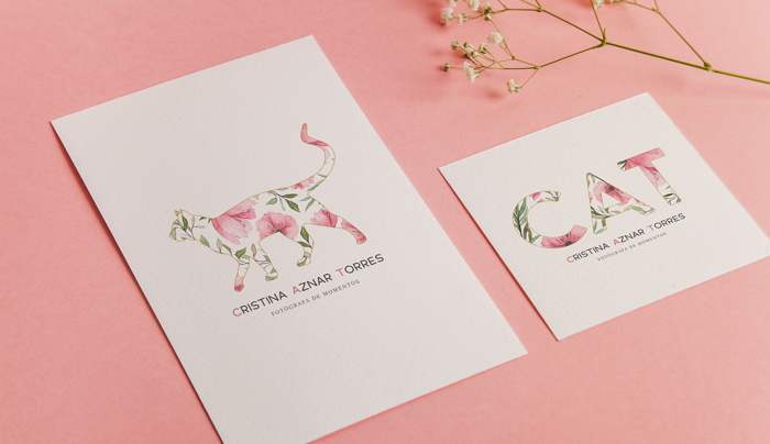 watercolor business card and logos for Cristina Aznar Torres, photographer item thumbnail