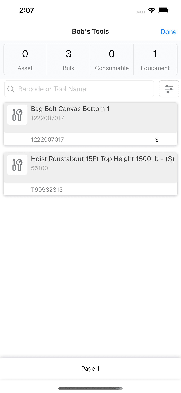 Mobile App My Tools Screen
