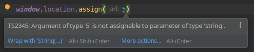 TypeScript intellisense error for window.location.assign