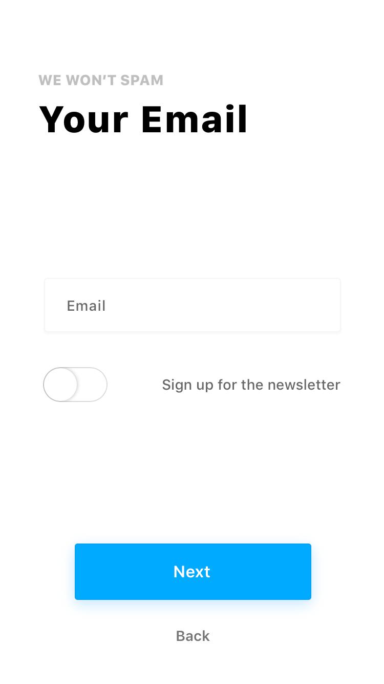 Fiber UI Kit: toggle inactive state screen