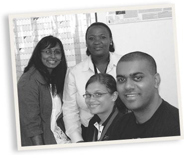 database team, Inbarani Naidoo – seated first from left, Ntombifikile Mbatha – standing second from left, Liezel Fisher – seated second from right, Dayanandan Govender – first from right