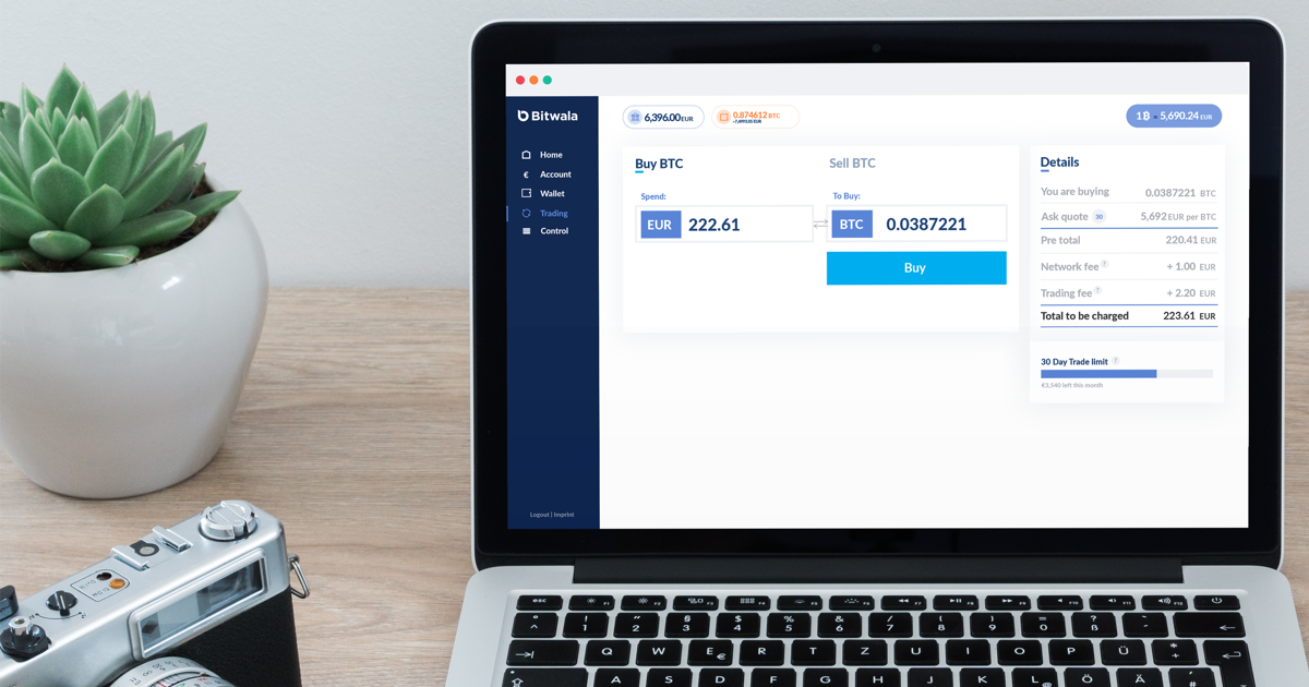 view of the bitwala user dashboard