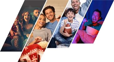a collage of smiling people enjoying watching TV