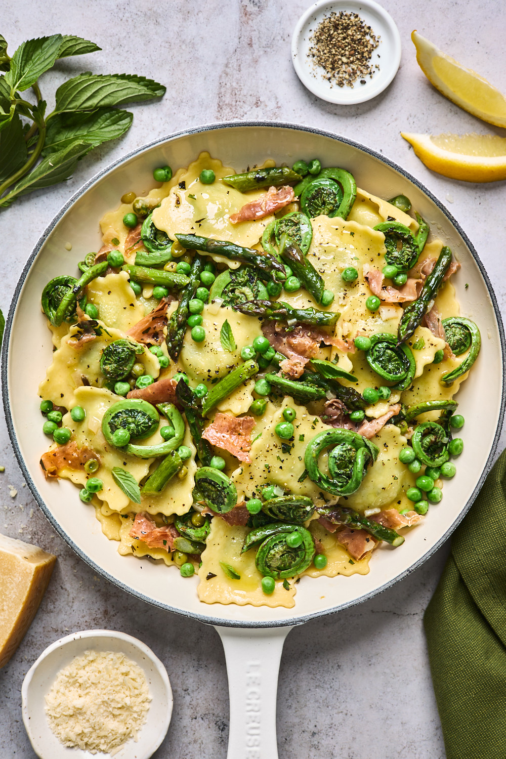 Lemon Butter Ravioli With Roasted Asparagus and Peas