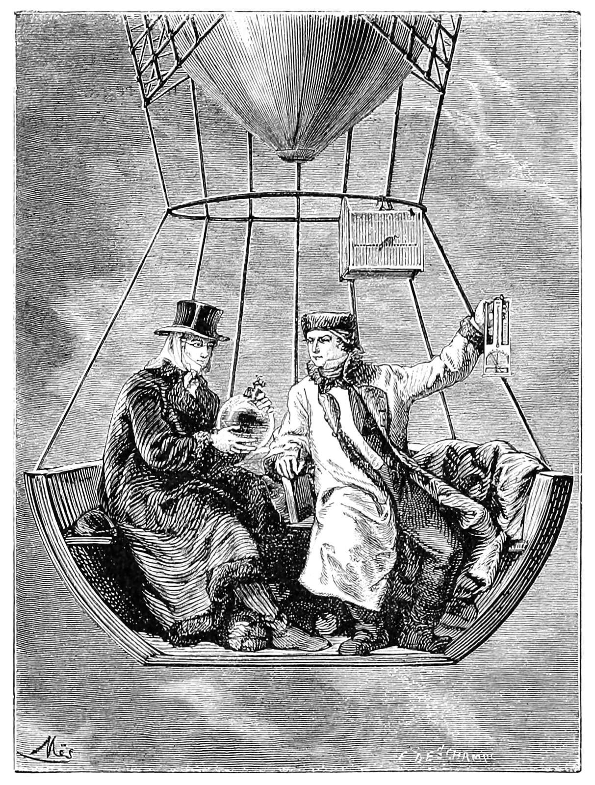 Two men float in a balloon