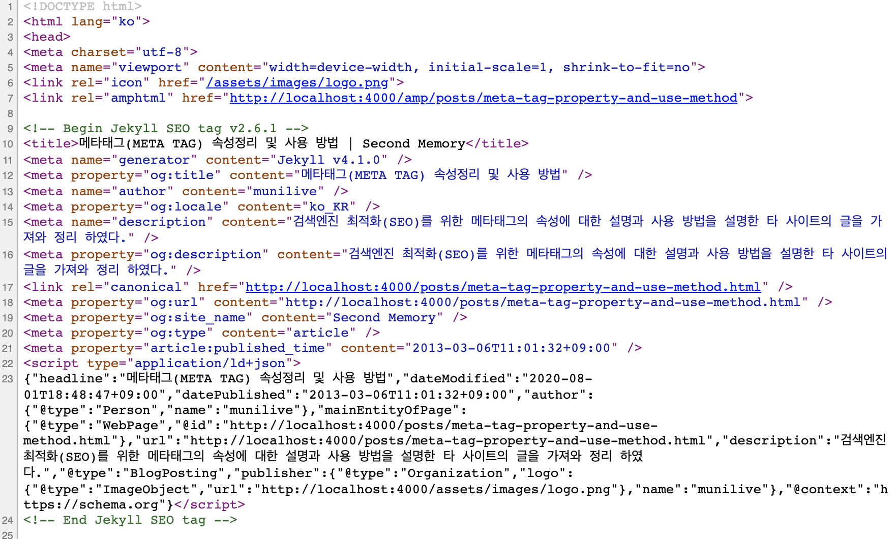 HTML 문서의 메타태그 모습