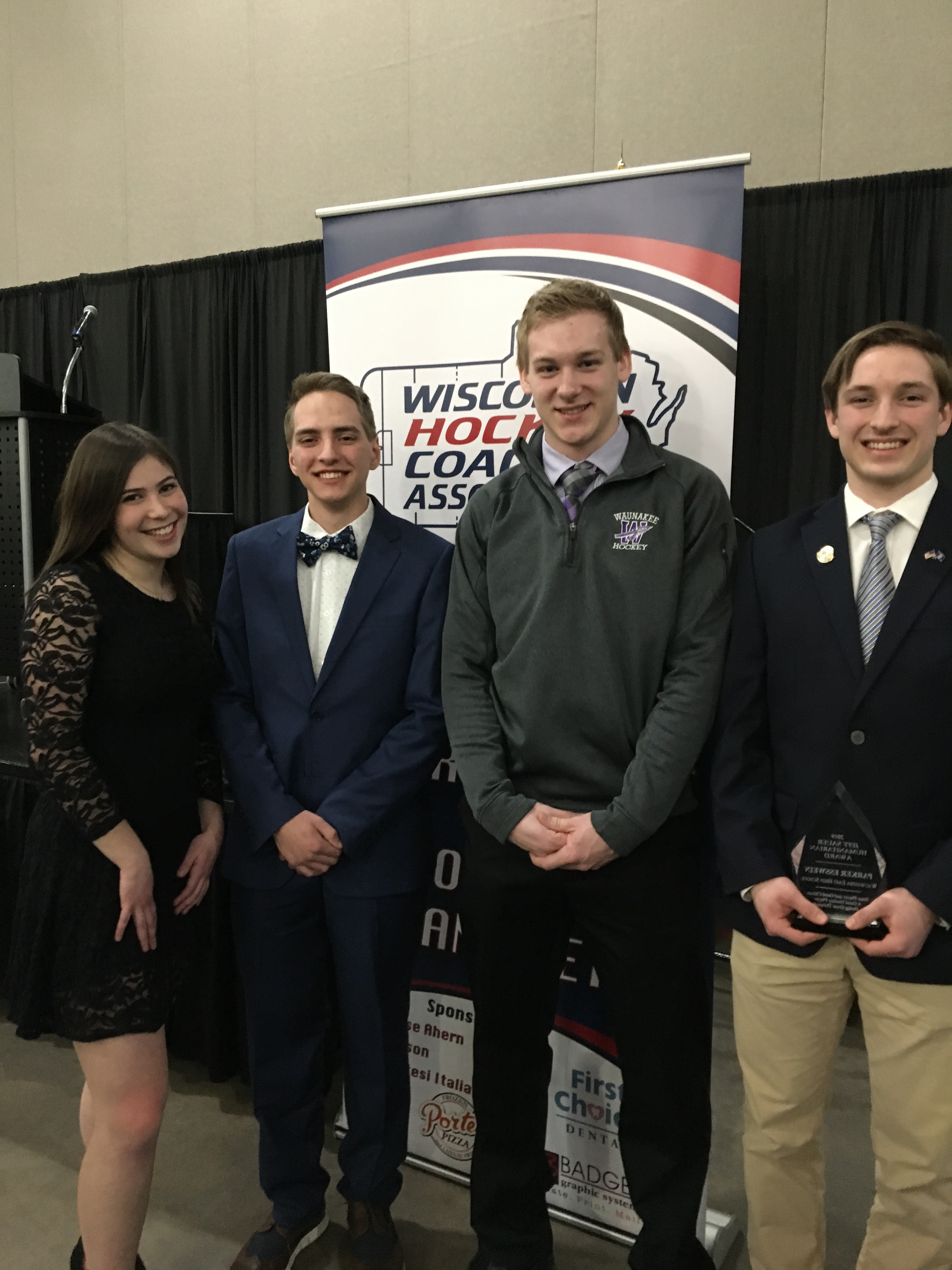 2019 Jeff Sauer Award finalists from left to right: Haley Meskin (Madison West HS/Metro Lynx), Luke Trittelwitz (Grantsburg HS/WSFLG Blizzard), Dane Luebke (Wanuakee HS), and our winner, Parker Esswein (Wauwatosa East HS/Brookfield Stars)