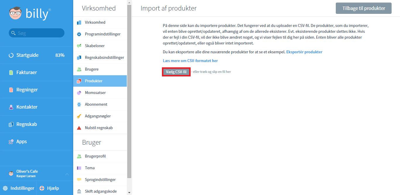 Import af kontakter