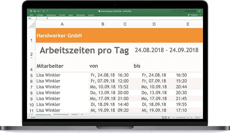 Excel Zeiterfassung