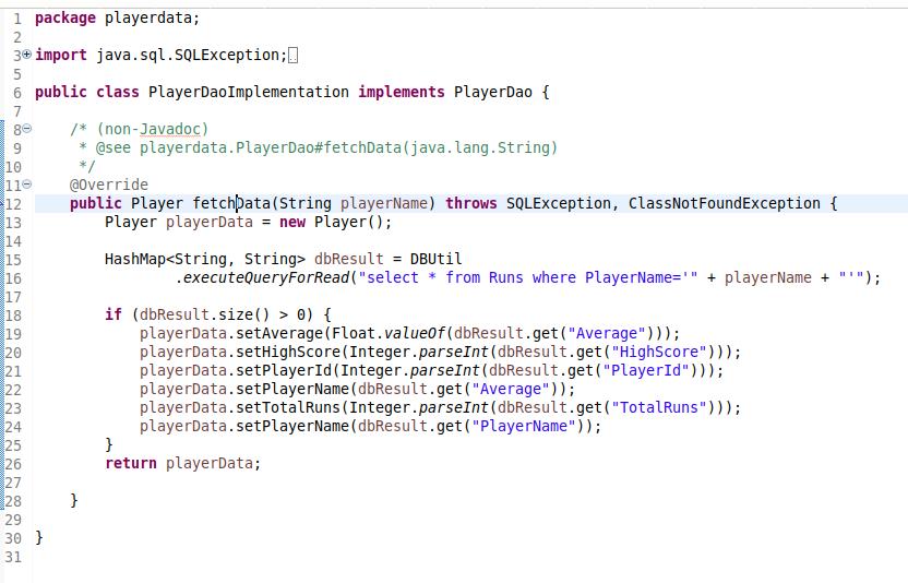 PlayerDaoImplementation.java