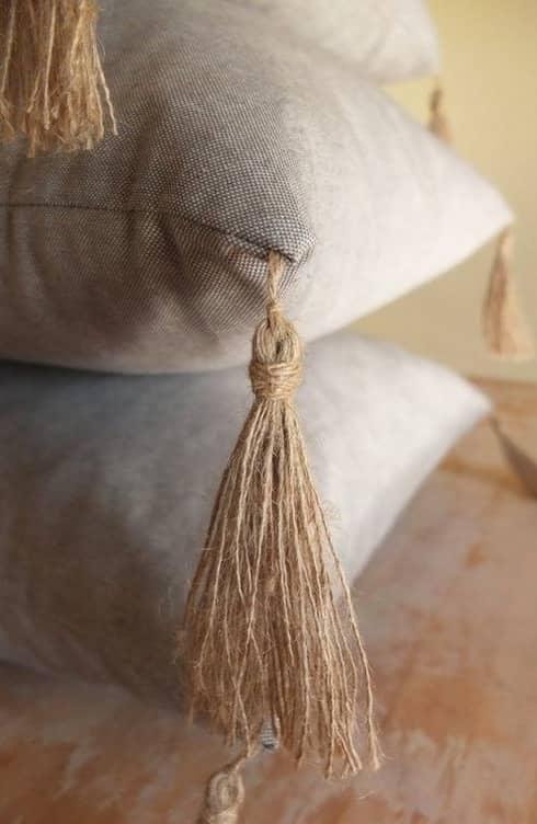 Coussin à franges réutilisation de rideaux personnalisés