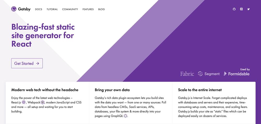 Gatsby homepage