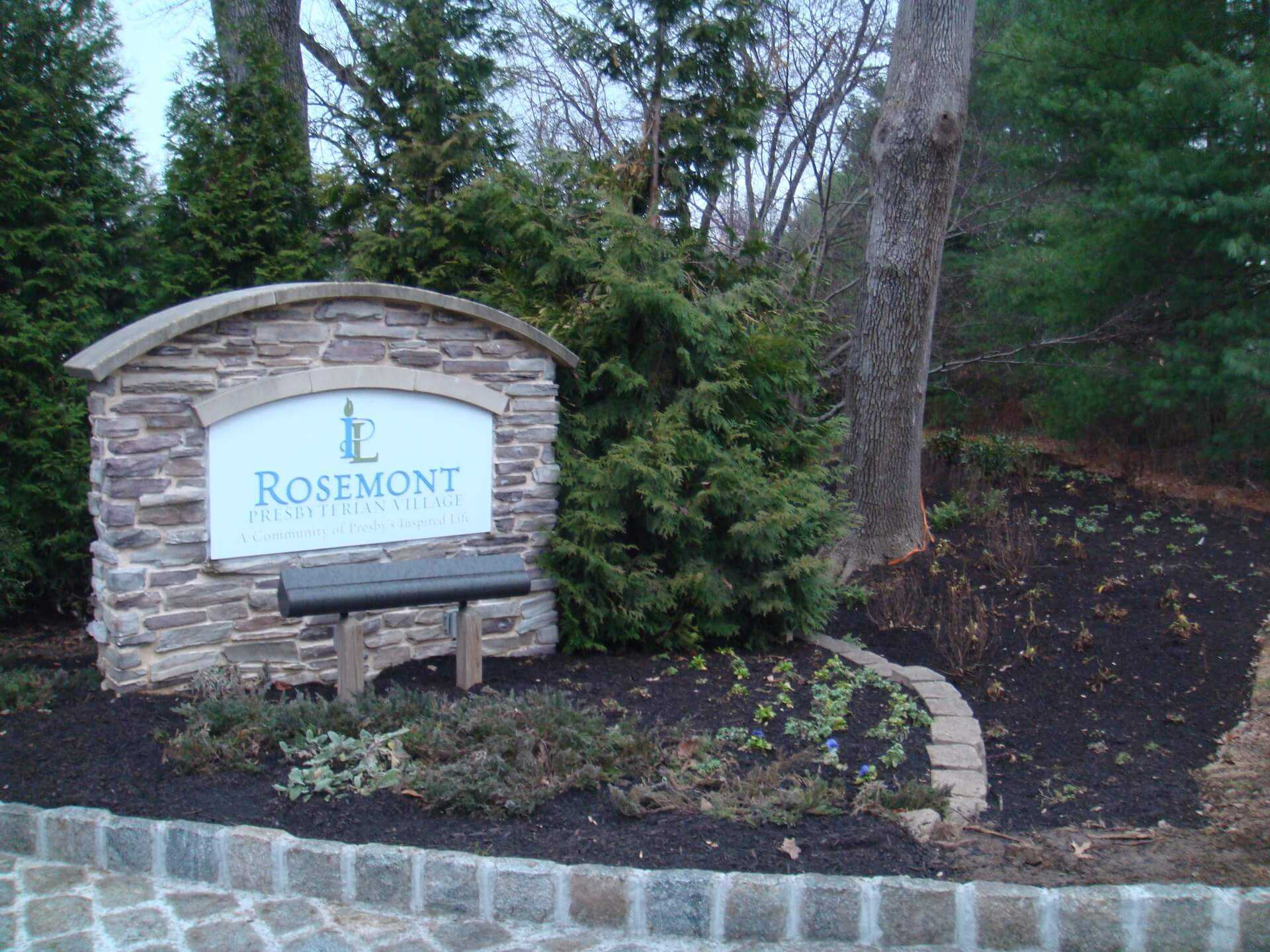 viewing Rosemont sign at entrance