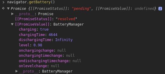 JavaScript Navigator's getBattery
