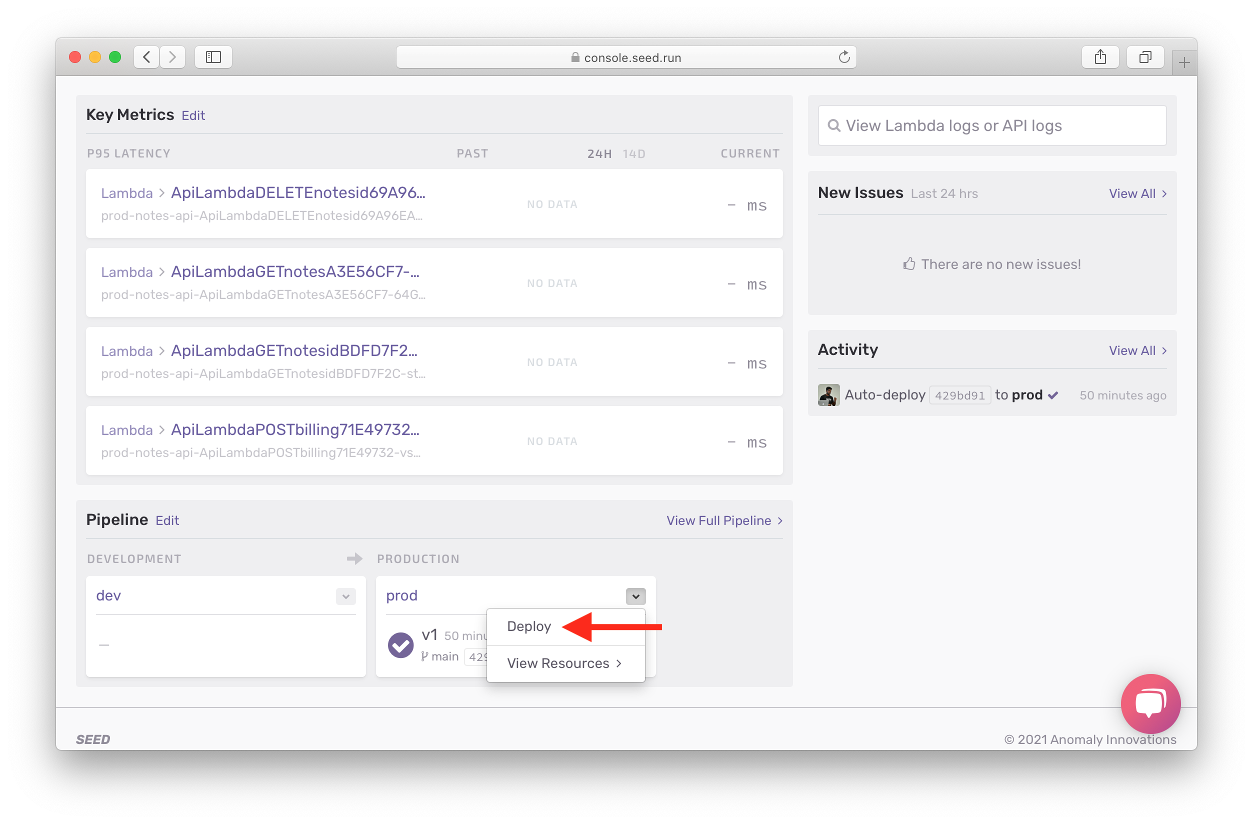 Click deploy in Seed pipeline