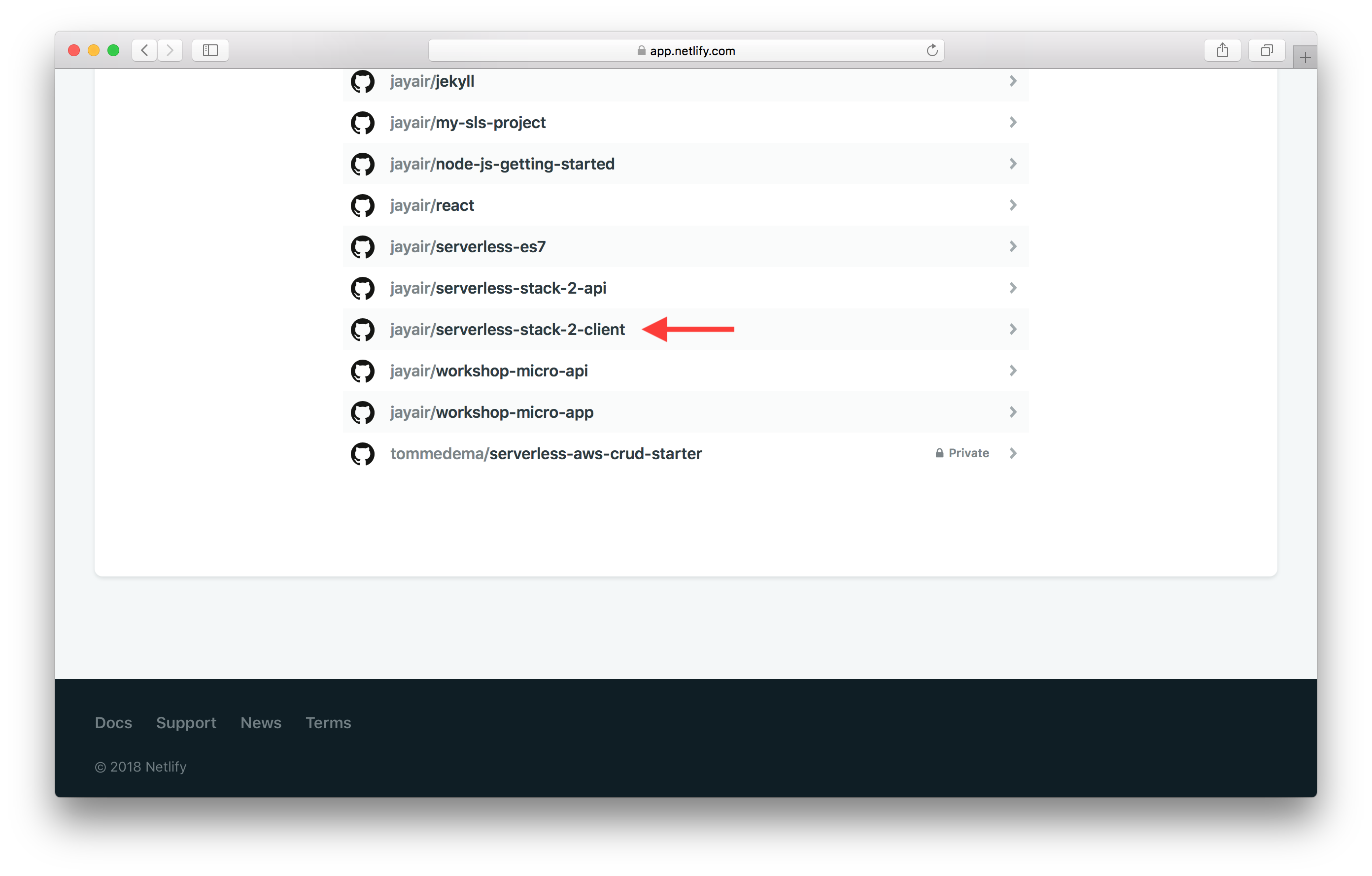 Select GitHub repo from list screenshot