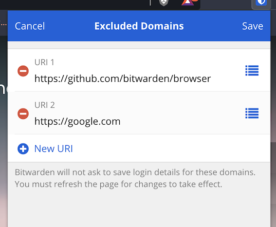 Excluded Domains Configuration
